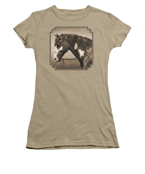 War Horse Aged Photo Fx Women's T-Shirt (Junior Cut) by Crista Forest