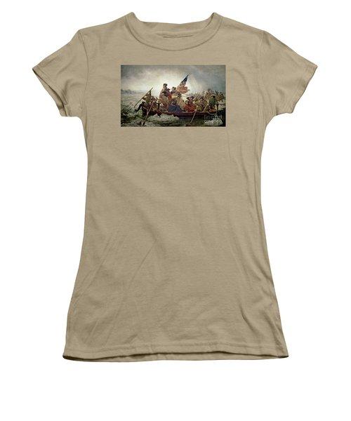 Washington Crossing The Delaware River Women's T-Shirt (Junior Cut) by Emanuel Gottlieb Leutze