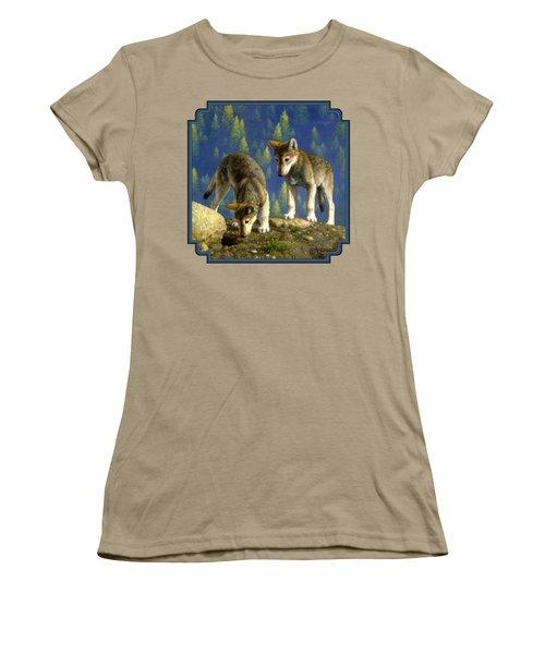Wolf Pups - Anybody Home Women's T-Shirt (Junior Cut) by Crista Forest