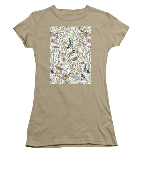 Woodland Edge Birds Women's T-Shirt (Junior Cut) by Jacqueline Colley