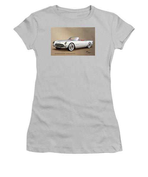 1953 Corvette Classic Vintage Sports Car Automotive Art Women's T-Shirt (Junior Cut) by John Samsen