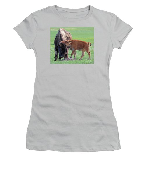 Women's T-Shirt (Junior Cut) featuring the photograph Bison With Young Calf by Bill Gabbert