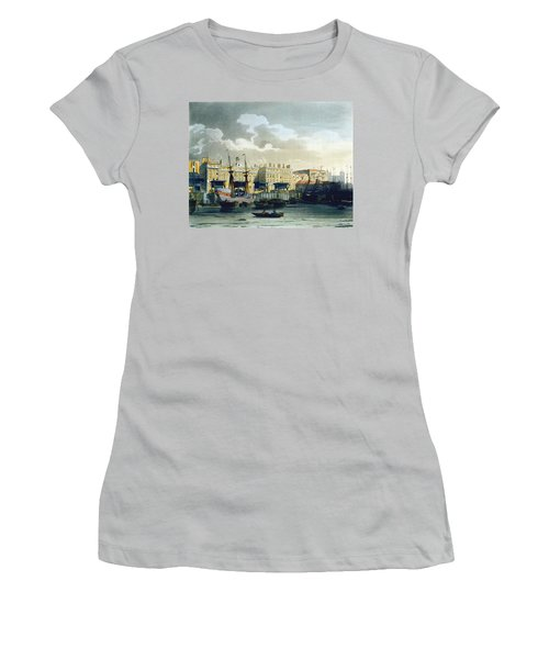 Custom House From The River Thames Women's T-Shirt (Junior Cut) by T. & Pugin, A.C. Rowlandson