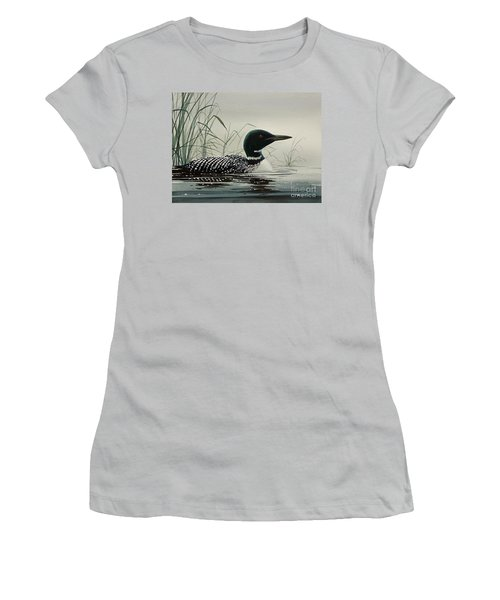 Loon Near The Shore Women's T-Shirt (Junior Cut) by James Williamson