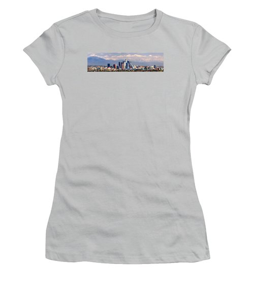 Los Angeles Skyline With Mountains In Background Women's T-Shirt (Junior Cut) by Jon Holiday
