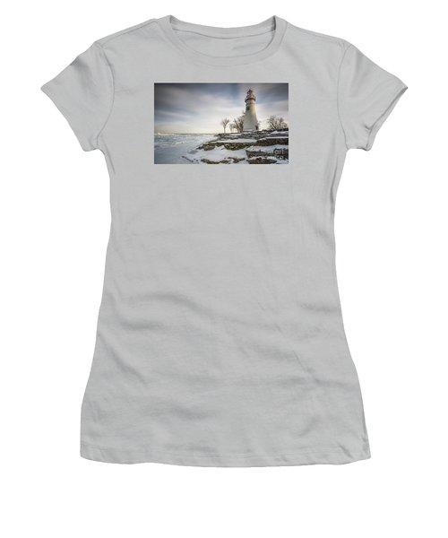 Marblehead Lighthouse Winter Women's T-Shirt (Junior Cut) by James Dean