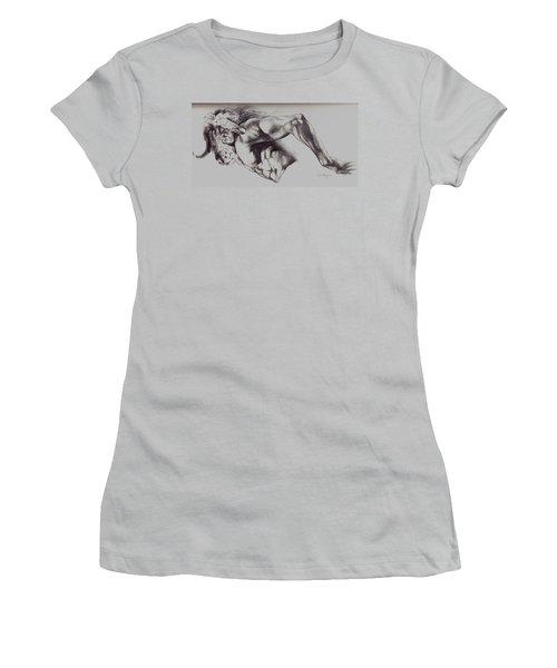 North American Minotaur Pencil Sketch Women's T-Shirt (Junior Cut) by Derrick Higgins