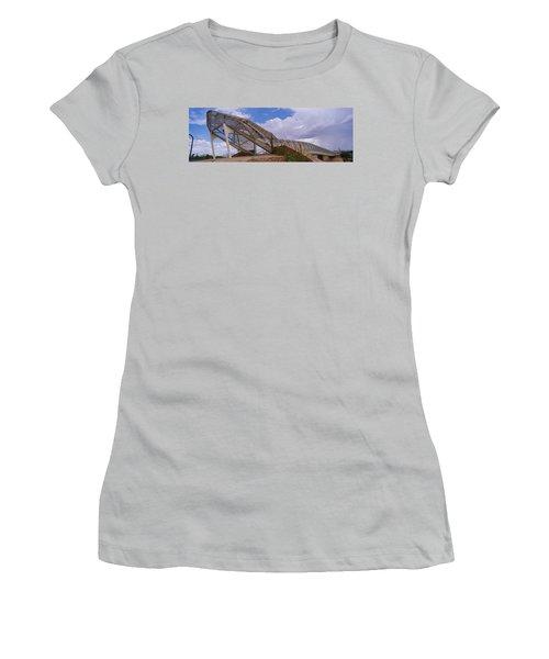 Pedestrian Bridge Over A River, Snake Women's T-Shirt (Junior Cut) by Panoramic Images