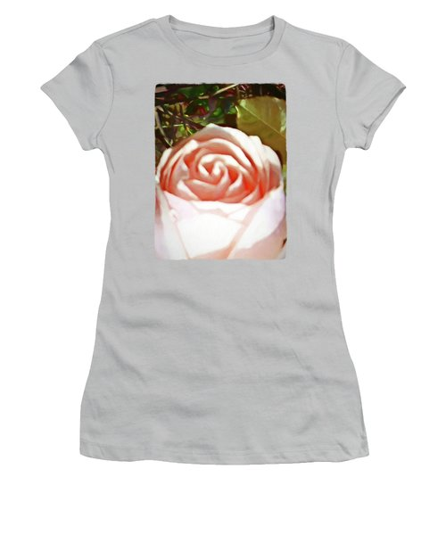 A Pale Pink Rosebud Women's T-Shirt (Junior Cut) by Jackie VanO