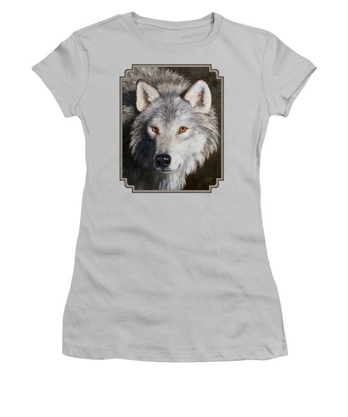 Wolf Portrait Women's T-Shirt (Junior Cut) by Crista Forest