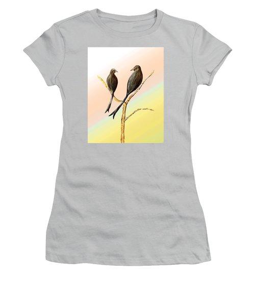 Black Drongos B Women's T-Shirt (Junior Cut) by Thecla Correya