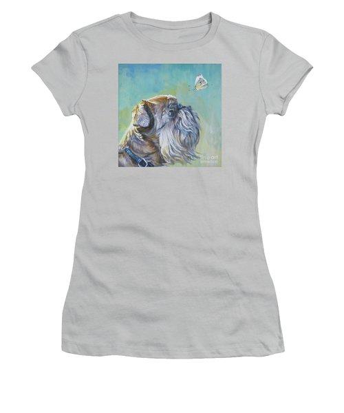 Brussels Griffon With Butterfly Women's T-Shirt (Junior Cut) by Lee Ann Shepard