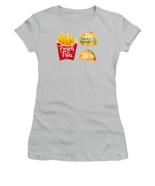 Color French Fries Women's T-Shirt (Junior Cut) by Aloke Design
