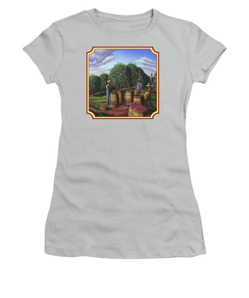 Farm Americana - Autumn Apple Harvest Country Landscape - Square Format Women's T-Shirt (Junior Cut) by Walt Curlee