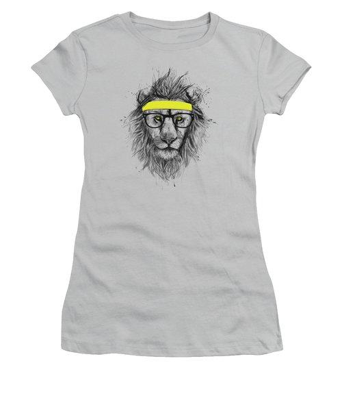 Hipster Lion Women's T-Shirt (Junior Cut) by Balazs Solti