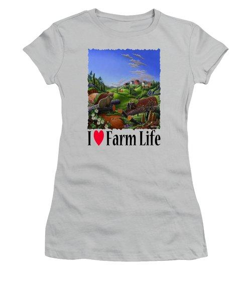 I Love Farm Life - Groundhog - Spring In Appalachia - Rural Farm Landscape Women's T-Shirt (Junior Cut) by Walt Curlee