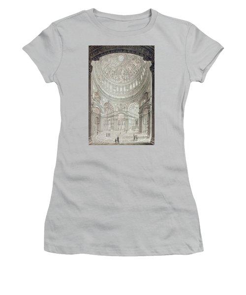 Interior Of Saint Pauls Cathedral Women's T-Shirt (Junior Cut) by John Coney