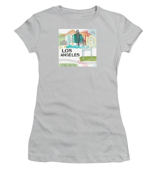 Los Angeles Cityscape- Art By Linda Woods Women's T-Shirt (Junior Cut) by Linda Woods