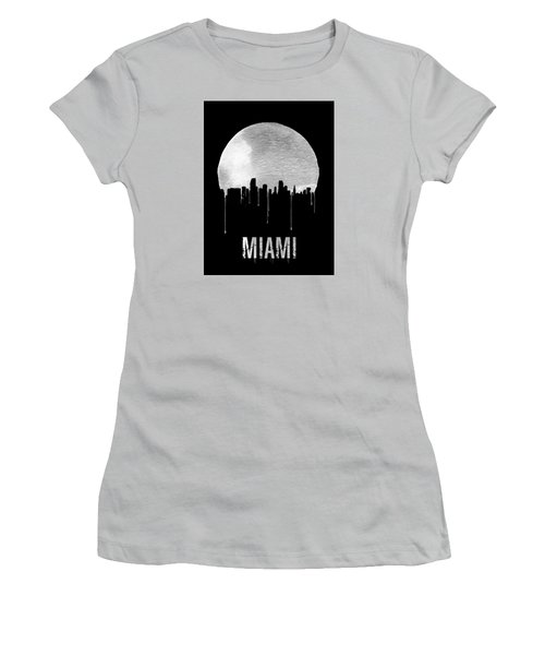 Miami Skyline Black Women's T-Shirt (Junior Cut) by Naxart Studio