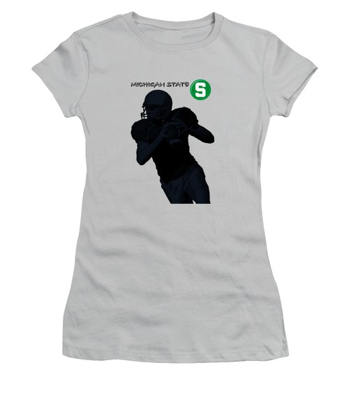 Michigan State Football Women's T-Shirt (Junior Cut) by David Dehner