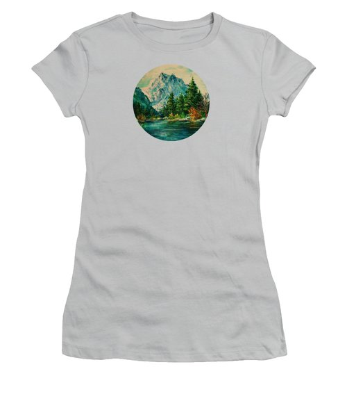 Mountain Lake Women's T-Shirt (Junior Cut) by Mary Wolf