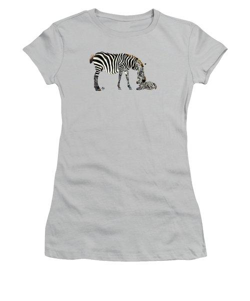 Plains Zebras Women's T-Shirt (Junior Cut) by Angeles M Pomata