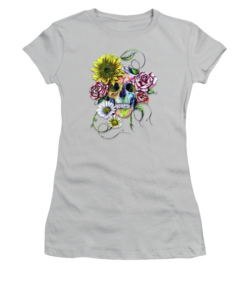 Skull And Flowers Women's T-Shirt (Junior Cut) by Isabel Salvador