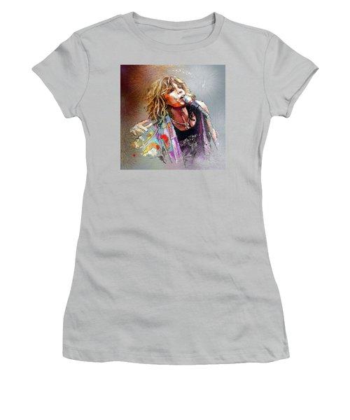 Steven Tyler 02  Aerosmith Women's T-Shirt (Junior Cut) by Miki De Goodaboom