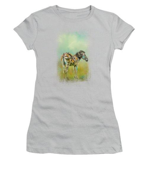 Summer Zebra 1 Women's T-Shirt (Junior Cut) by Jai Johnson