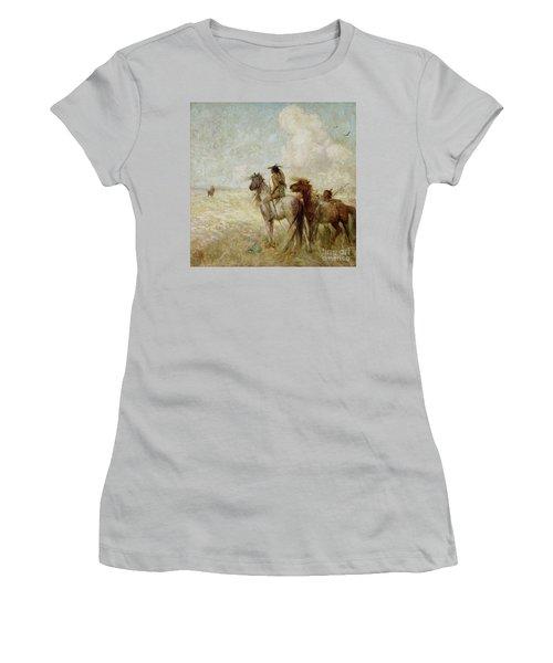 The Bison Hunters Women's T-Shirt (Junior Cut) by Nathaniel Hughes John Baird