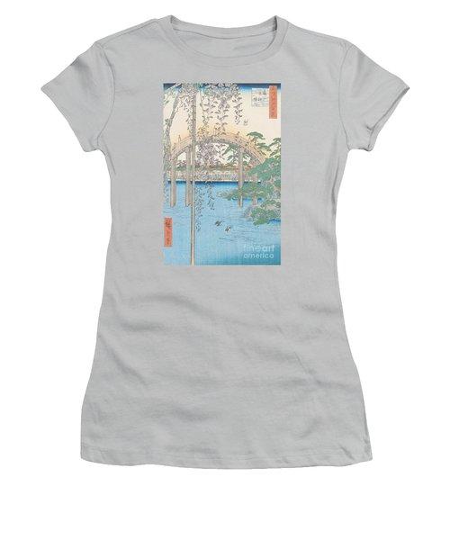 The Bridge With Wisteria Women's T-Shirt (Junior Cut) by Hiroshige