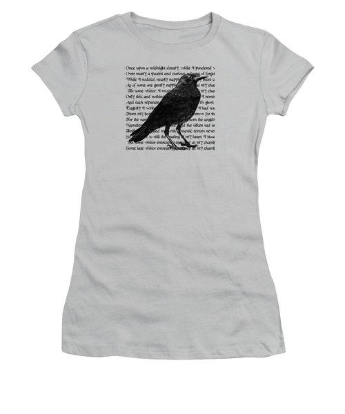 The Raven Poem Art Print Women's T-Shirt (Junior Cut) by Sandra McGinley