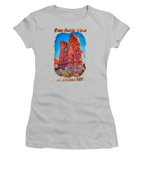Waving Rock Women's T-Shirt (Junior Cut) by John M Bailey