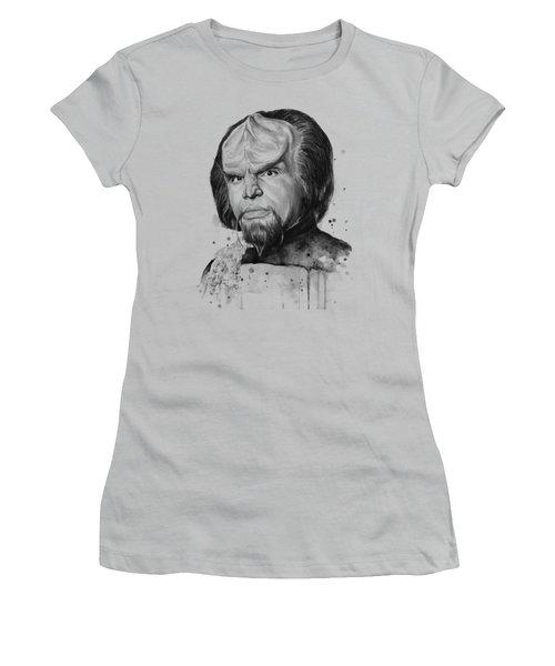 Worf Portrait Watercolor Star Trek Art Women's T-Shirt (Junior Cut) by Olga Shvartsur