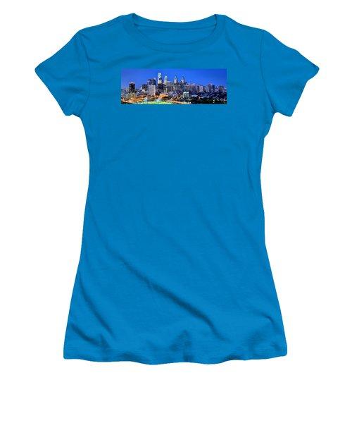 Philadelphia Skyline At Night Evening Panorama Women's T-Shirt (Junior Cut) by Jon Holiday