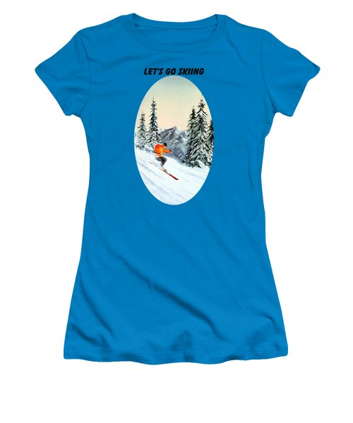 Let's Go Skiing Women's T-Shirt (Junior Cut) by Bill Holkham