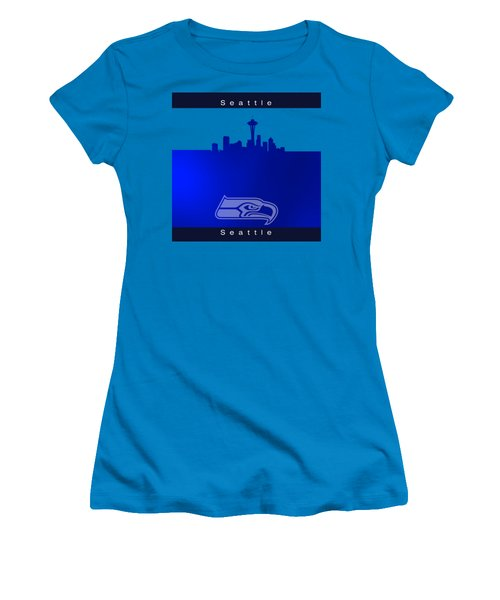 Seattle Seahawks Skyline Women's T-Shirt (Junior Cut) by Alberto RuiZ