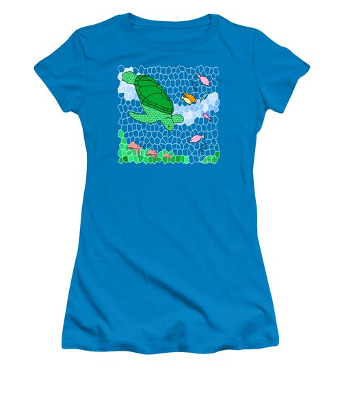 Turtle And Friends Women's T-Shirt (Junior Cut) by Methune Hively