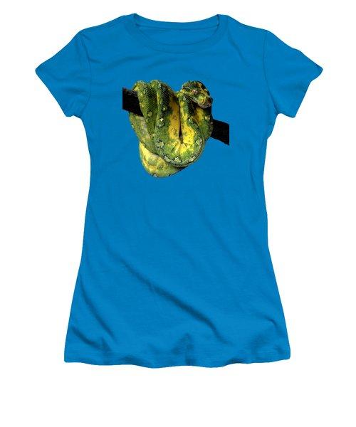 Green Tree Python 2 Women's T-Shirt (Junior Cut) by Alondra Hanley
