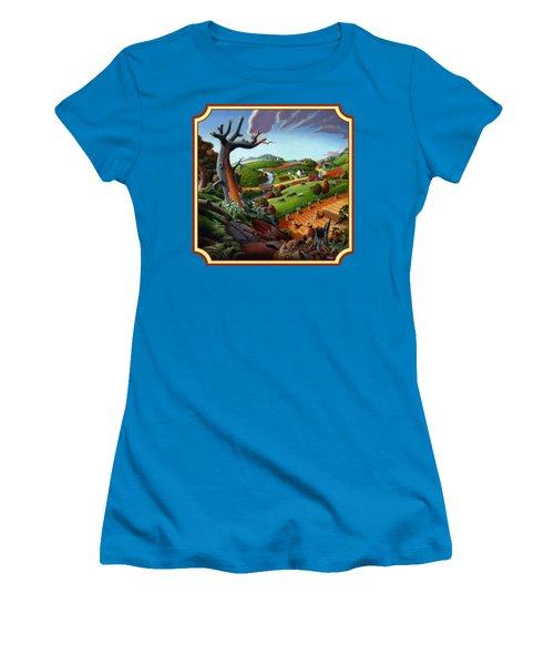 Autumn Wheat Harvest Country Farm Life Landscape - Square Format Women's T-Shirt (Junior Cut) by Walt Curlee