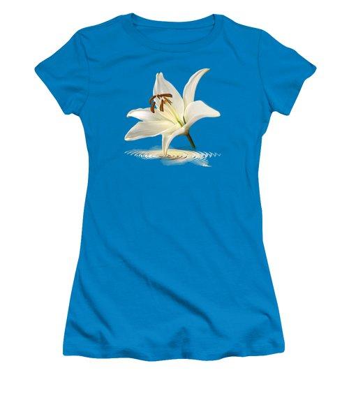 Blue Horizons - White Lily Women's T-Shirt (Junior Cut) by Gill Billington