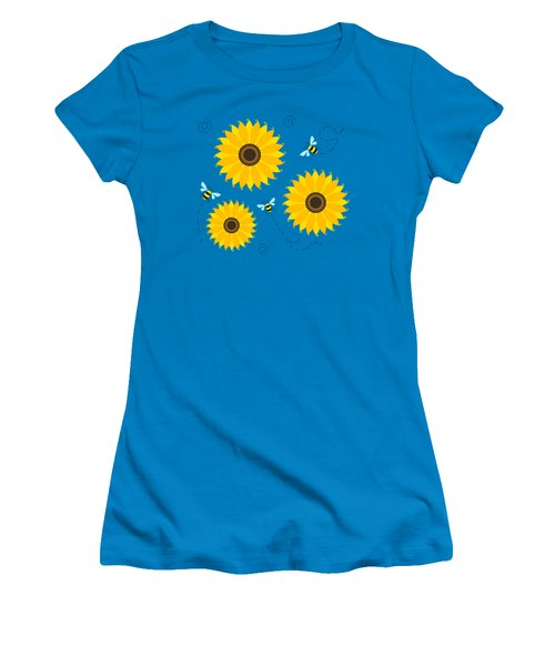 Busy Bees And Sunflowers - Large Women's T-Shirt (Junior Cut) by Shara Lee