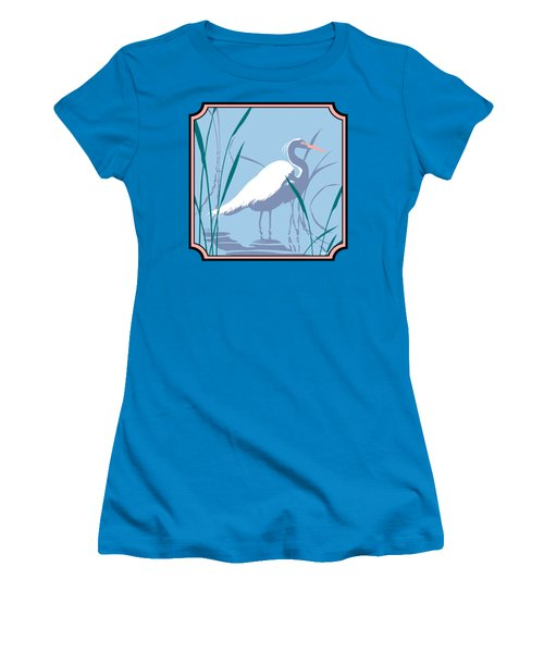 Egret Tropical Abstract - Square Format Women's T-Shirt (Junior Cut) by Walt Curlee