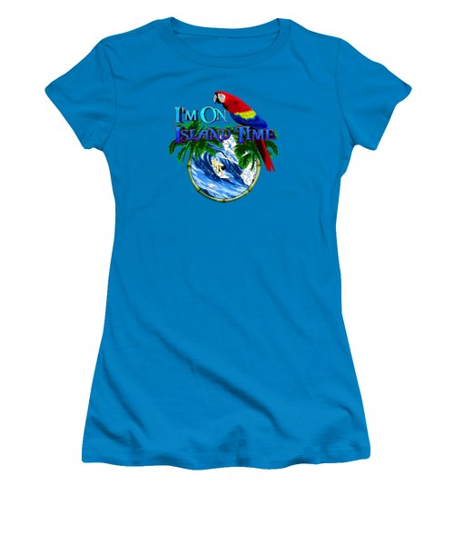Island Time Surfing Women's T-Shirt (Junior Cut) by Chris MacDonald