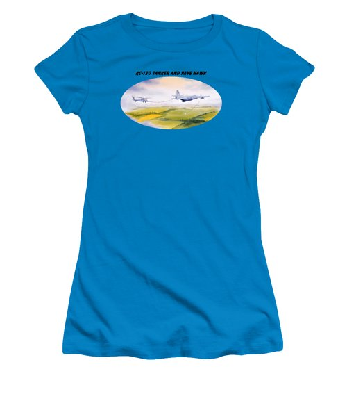 Kc-130 Tanker Aircraft And Pave Hawk With Banner Women's T-Shirt (Junior Cut) by Bill Holkham