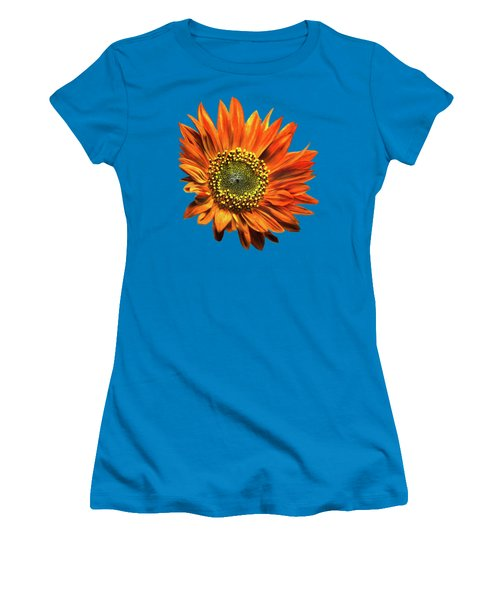 Orange Sunflower Women's T-Shirt (Junior Cut) by Christina Rollo