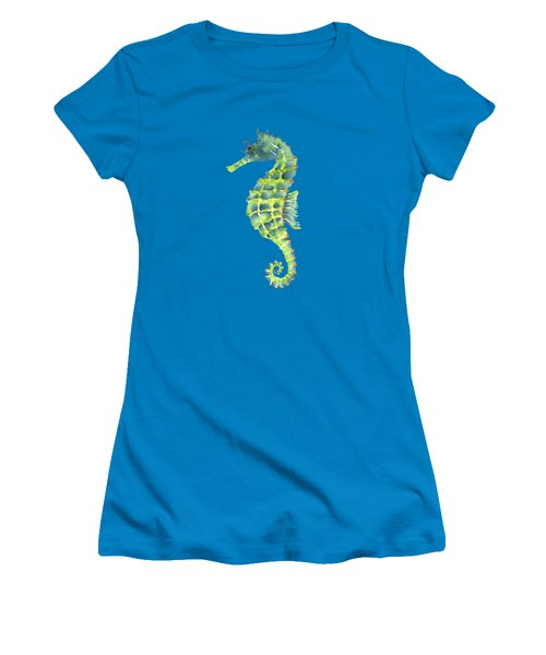 Teal Green Seahorse - Square Women's T-Shirt (Junior Cut) by Amy Kirkpatrick