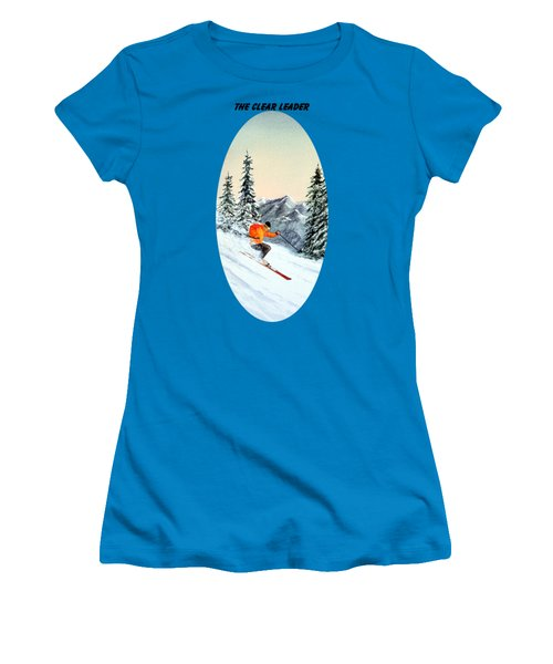 The Clear Leader Skiing Women's T-Shirt (Junior Cut) by Bill Holkham