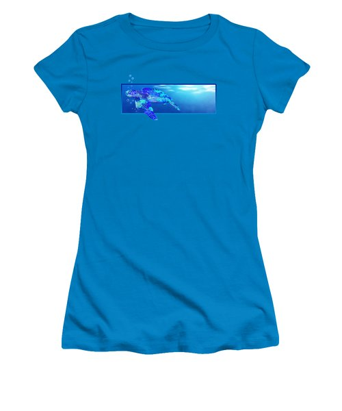 Underwater Sea Turtle Women's T-Shirt (Junior Cut) by Chris MacDonald