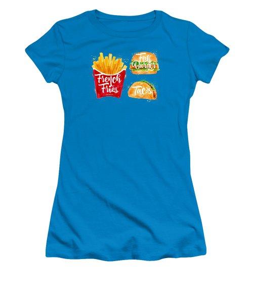 White French Fries Women's T-Shirt (Junior Cut) by Aloke Design